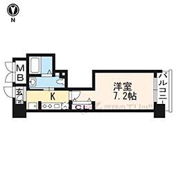 京阪本線 三条駅 徒歩10分の賃貸マンション 5階1Kの間取り