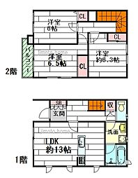 [テラスハウス] 大阪府吹田市原町4丁目 の賃貸【/】の間取り