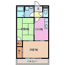 三重県鈴鹿市稲生2丁目の賃貸アパートの間取り