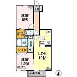 (仮)D-room喜多川A棟 1階2LDKの間取り