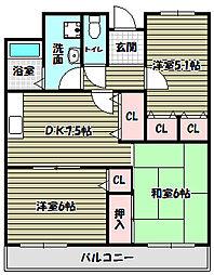 ジェントリーT・M・Y[1階]の間取り