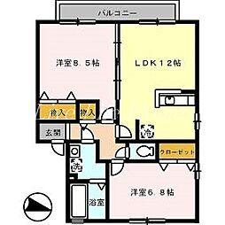 徳島県徳島市南田宮2丁目の賃貸アパートの間取り