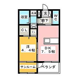 コミーテ須賀II−B[2階]の間取り
