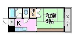 仲前ハイツA-2[4階]の間取り