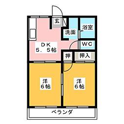 ウイングハイツA棟[2階]の間取り