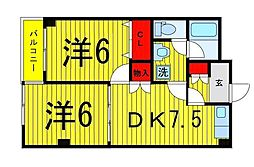 ヴィレヂ・ハピネス3[B-102号室]の間取り