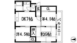 兵庫県宝塚市山本西3丁目の賃貸マンションの間取り