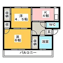 大坪飯田ビル B[3階]の間取り