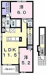 東京都青梅市長淵3丁目の賃貸アパートの間取り