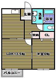 大阪府河内長野市石仏の賃貸マンションの間取り