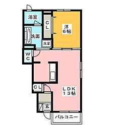 メゾン・ド・ミニョンII 1階1LDKの間取り