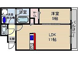 山崎マンション15[5階]の間取り