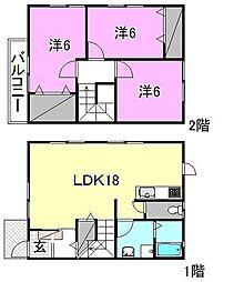 [テラスハウス] 愛媛県松山市苞木 の賃貸【/】の間取り