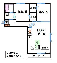 滋賀県近江八幡市中小森町の賃貸アパートの間取り