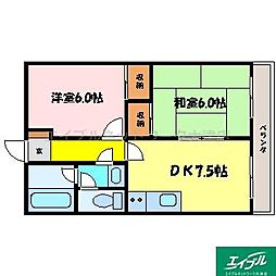 滋賀県大津市柳が崎の賃貸マンションの間取り