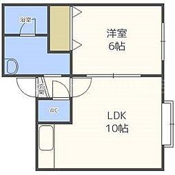 北海道札幌市豊平区平岸一条1丁目の賃貸アパートの間取り