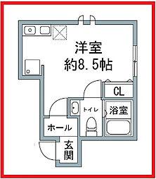 東京都荒川区西日暮里1丁目の賃貸アパートの間取り