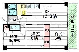 ハイツ桃山2[3階]の間取り