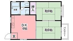 ラヴィアンヌ西宮[2F号室]の間取り
