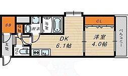 W.O.B京橋 7階1DKの間取り