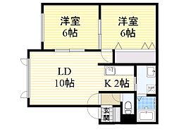 北海道札幌市白石区菊水上町4条1丁目の賃貸アパートの間取り