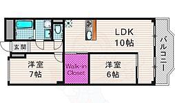 京阪本線 墨染駅 徒歩7分の賃貸マンション 2階2SLDKの間取り