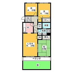 御幸山パークマンションA棟[2階]の間取り