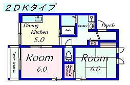 ハイツウイング小野山[108号室]の間取り