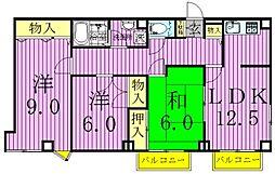 コートグランディア一ツ家[2階]の間取り
