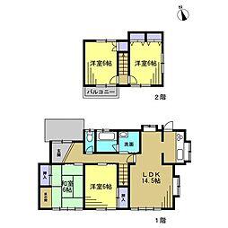 土地63坪、建物28坪、間取り4LDKの住宅 6帖洋室が三部屋、6畳和室が一部屋あるので、一人一部屋が実現できます 「誰がどこの部屋にしようかな」そんな会話も住宅探しの楽しい会話の一つですね
