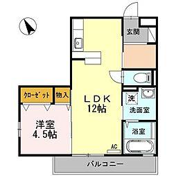 広島県福山市港町2の賃貸アパートの間取り