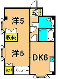 T&Tヒルズ 2階2DKの間取り