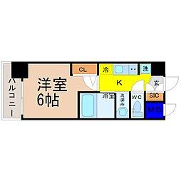 エステムコート名古屋新栄IIアリーナ 15階1Kの間取り