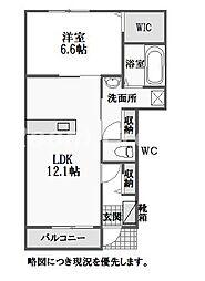 徳島県徳島市国府町池尻の賃貸アパートの間取り