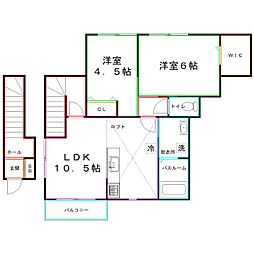 JR南武線 矢川駅 徒歩8分の賃貸アパート 2階2LDKの間取り