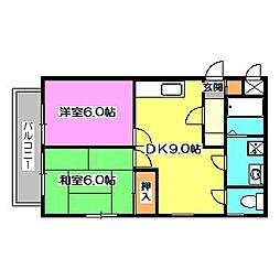 東京都東久留米市中央町6丁目の賃貸マンションの間取り
