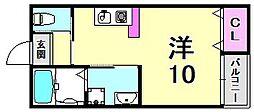 グランシャリオ山本通II 1階ワンルームの間取り