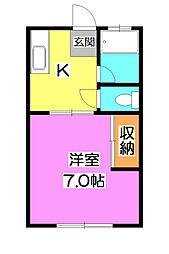 旭ヶ丘ハイツ[2階]の間取り