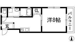 兵庫県宝塚市福井町の賃貸アパートの間取り