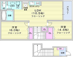 JR東北本線 塩釜駅 徒歩20分の賃貸アパート 2階2LDKの間取り
