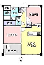 エクレール笠幡 2階2LDKの間取り