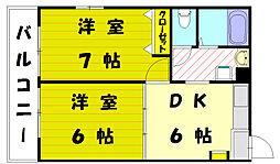 福岡県古賀市中央3丁目の賃貸アパートの間取り