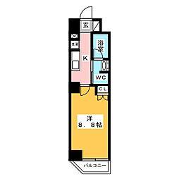 プレール・ドゥーク西新井 6階1Kの間取り