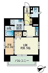 福岡市地下鉄七隈線 渡辺通駅 徒歩4分の賃貸マンション 2階1LDKの間取り