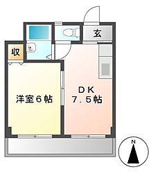 アパートメント今池[4階]の間取り