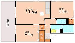ルポシェソア[1階]の間取り
