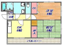 兵庫県神戸市灘区岩屋北町3丁目の賃貸アパートの間取り