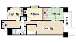 愛知県名古屋市守山区森孝東2丁目の賃貸マンションの間取り