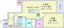 コンフォート・アライブA 1階1LDKの間取り