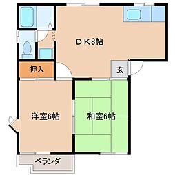 轟木ハイツB棟[1階]の間取り